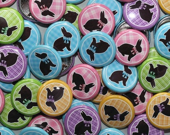 """50 Baby Shower 1"""" Pinbacks - Bunnies Easter Plaid - Gender Reveal Party Favors"""