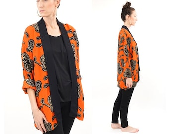 vintage 90s red + black abstract CARDIGAN top S-L