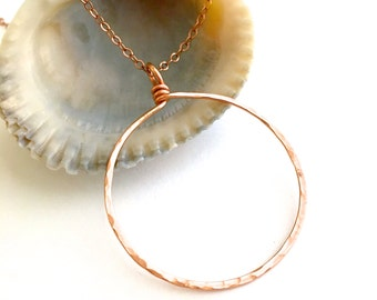 Rose Gold Circle Pendant. Large Round Rose Gold Necklace Pendant.