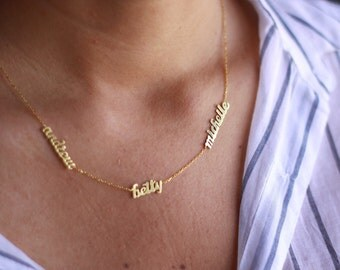 Tiny Silver Name Necklace / Gold Multiple Name Necklace / Name Necklace / Three  Name Necklace / Sterling Silver / Family Necklace