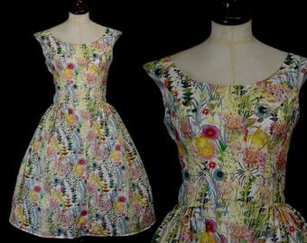 Liberty Print 50s inspired tea dress with full skirt  - Lillian - Size Medium - FREE SHIPPING WORLDWIDE