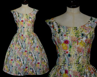 Liberty Print 50s inspired tea dress with full skirt  - Lillian - Custom Made to Order - FREE SHIPPING WORLDWIDE