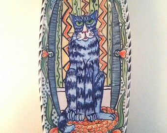 Majolica ceramic tray - hand painted tabby cat - rectangle wabi sabi pottery - colorful - whimsical - vines - hearts