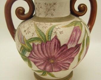 Antique German Rudolstadt Works Porcelain Vase Handpainted Morning Glory Flowers
