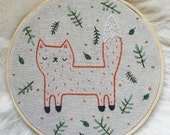 SALE  embroidered fox, fox embroidery, fox wall hoop, fox wall hanging, woodland nursery decor, woodland embroidery, stitched fox