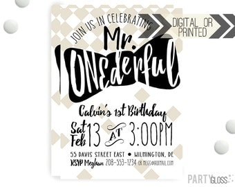 Mr. ONEderful Invitation | Digital or Printed | Modern Boy Invitation | Mr. Wonderful Invitation |  Onederful Invite | Little Man Bow Tie