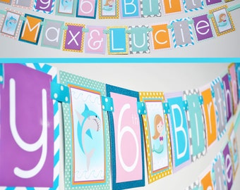 Shark & Mermaid Birthday Party Decorations Banner Fully Assembled