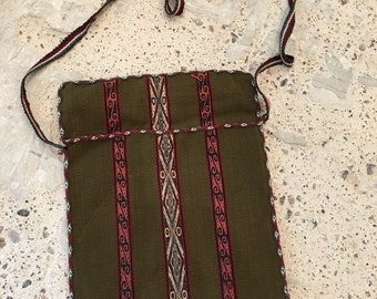 Tribal Fabric Crossbody or Shoulder Pouch Purse - Ethnic Vibe - Southwest Style - Olive Green - Pouch - Tribal India Native American Style
