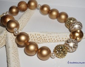 Gold, Chevron, Cream Bubble gum Necklace- photoshoots, toddler, kids,gift for girls, children jewelry, flower girl