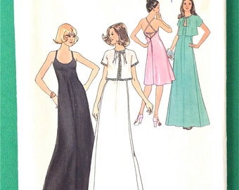 Uncut 70s Simplicity 7433 Misses' Halter Dress in Two Lengths and Unlined Jacket Vintage Sewing Pattern Bust 36