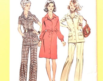 Uncut Simplicity 5735 ShirtDress Tunic front button closing notched collar, set-in sleeves Vintage Sewing Pattern  Bust 37