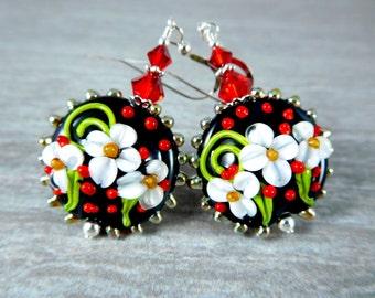 Chrismas Floral Dangle Earrings, Black White Red Holiday Drop Earrings, Glass Flower Earrings, Nature Jewelry, Botanical Earrings, Lampwork