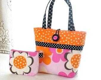 Little Girls Purse Coin Purse Set Mini Tote Bag Childs Purse Kids Bag Michael Miller Modern Flora Fabric Orange Hot Pink Daisy Daisies MTO