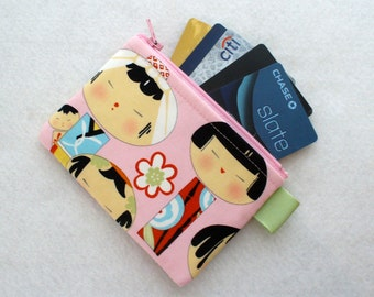 Yui Kokeshi Womens Credit Card Case Zippered Coin Purse Wallet Business Card Holder Japanese Dolls Fabric Alexander Henry Pink MTO