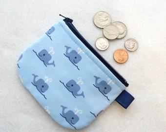 Boys Mini Coin Purse Cute Happy Whales Mini Change Purse Little Zipper Coin Pouch Jack and Lulu Dear Stella Blue Handmade MTO