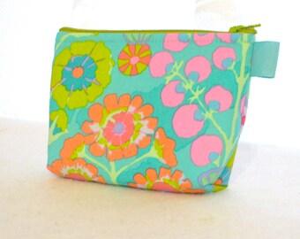 Cosmetic Bag Kaffe Fassett Fabric Zipper Pouch Makeup Bag Cotton Zip Gadget Pouch Floral Sprays Turquoise Coral Pink Kiwi Mint Green
