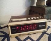 Vintage Westclox ~ Digital ~ Wood grain finish Alarm Clock ~ Retro ~ mod