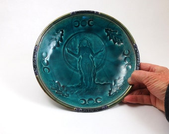 Raku GODDESS GAIA Mother Earth Triple Moon & Oak  Handmade Ceramic Pottery