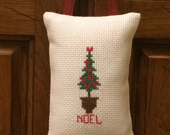 Christmas Tree Cross Stitched Hanging Pillow