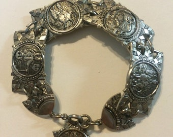 vintage panel bracelet silvertone pig and donkey 2000
