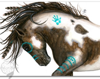 Majestic Mustang Pinto Native American Spirit Paint Horse Feathers ArT-  Giclee Print by Bihrle mm151