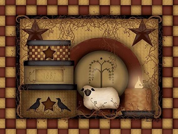 Sheep Wall Art Home Decor ~ Primitive wall decorprimitive wood signprimitive