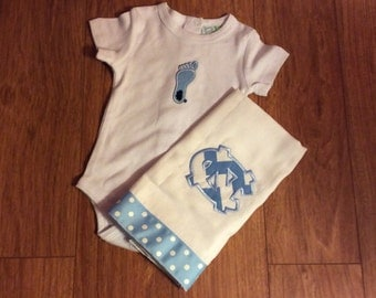 UNC Tarheel applique onesie & burp cloth