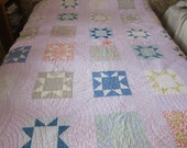 Antique quilt, cutter quilt, Kings Crown, vintage patchwork, calico, hand quilted 1915 - 1920