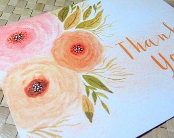 Thank You Card, Floral Thank You Card, Wedding Thank You Card, Watercolor Flower Thank You Card, Party Thank You Card, Note Card