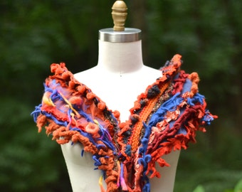 Cashmere orange blue SCARF Wrap with crochet ruffle, tassels and pom pons. Colorful bohemian textured fantasy accessory