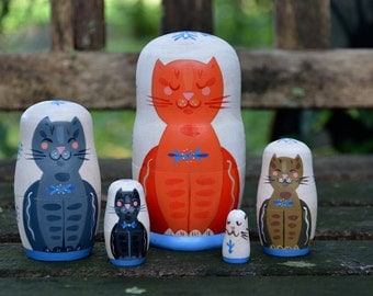 Handmade Matryoshka Russian nesting dolls - 5 pieces - Folk art - Daytime Babushcats - toy - decor