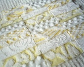 Vintage Chenille Bedspread Squares in Yellow and White