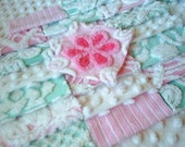 Vintage Pink and Aqua Chenille Bedspread Squares plus Daisy Flower-Pretty!