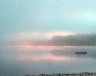 "Landscape photography forest woodland fog pink blue purple spring - ""Misty lake"" 8 x 10"