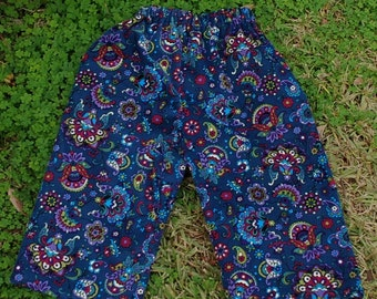 Kids Hippie pants-Blue Small ribbed Cords - size 3 - can be Capris or Jams on a 5 yrs.old-boys or Girls