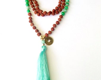 Rudraksha 108 beads mala with green agate and handmade tassel, Yoga mala, Tassel necklace, meditation jewelry, bohemian long necklace