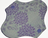 Liner Hemp Core- Purple Mums Flannel Reusable Cloth Petite Pad- 6.5 Inches