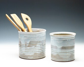 Cloudy White Ribbed Brush/Pencil/Knitting Needles Caddy/Vase