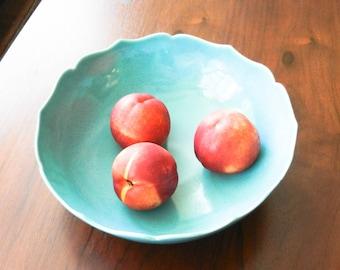 Large Aqua  Blue Lotus Ceramic Bowl/ Fruit Bowl/ Serving Bowl