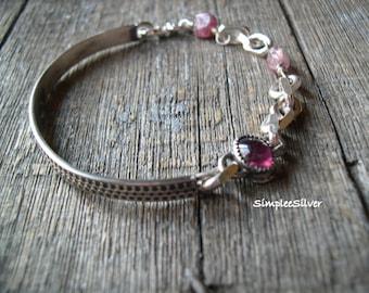 Artisan Jewelry  -  Bangle Bracelet  -  Pink Gemstone Bracelet  -  Rustic Bracelet  -  SimpleeSilver Jewelry  -  Sterling Silver Bracelet