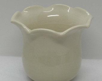 Scalloped Ivory Porcelain Vase
