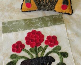 August Antique Quilt Block & Pincushion Pattern by Sunflower Fields Pattern Co. - Wool Applique Pattern