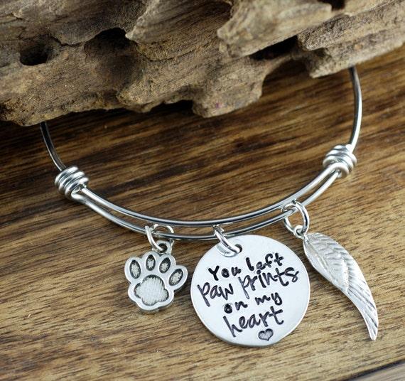 Pet Memorial Bracelet, Personalized Bangle Bracelet, You left Paw Prints on my Heart, Loss of Pet, Pet Memorial Jewelry, Pet loss Jewelry
