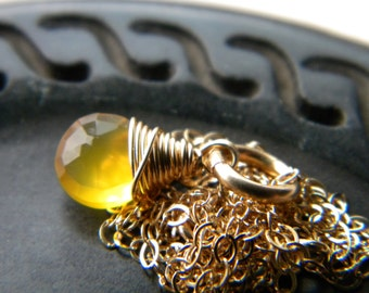 Sunny bright yellow chalcedony gold filled necklace - handmade wire wrapped jewelry