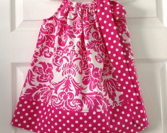 READY TO SHIP Hot Pink Damask Pillowcase Dress Size 2