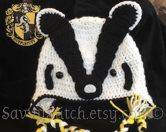 HUFFLEPUFF BADGER HAT with Earflaps Crochet Hogwarts Harry Potter Inspired Costume Witch Wizard newborn baby child adult