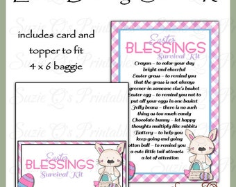 Easter Blessings Survival Kit includes Topper and Card - Digital Printable - Immediate Download