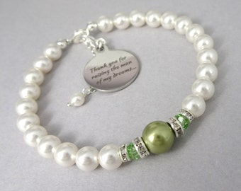 Mother of the Groom Gift, Mother of the Bride Gift, Light Green Wedding Bracelet, Thank You For Raising the Man of My Dreams, Gift for Mom
