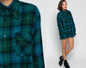 Wool Plaid Shirt 90s Grunge FLANNEL Blue Green Long Sleeve Button Up 1990s Vintage Oversize Women Men Hipster Checkered Large