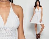 Mexican Dress White Mini Dress 90s Crochet Sheer Boho Gauze Bohemian 1990s Halter Neck Sun Vintage Deep V Plunge Backless Hippie Medium